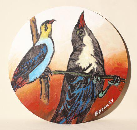 Round Birds on Orange