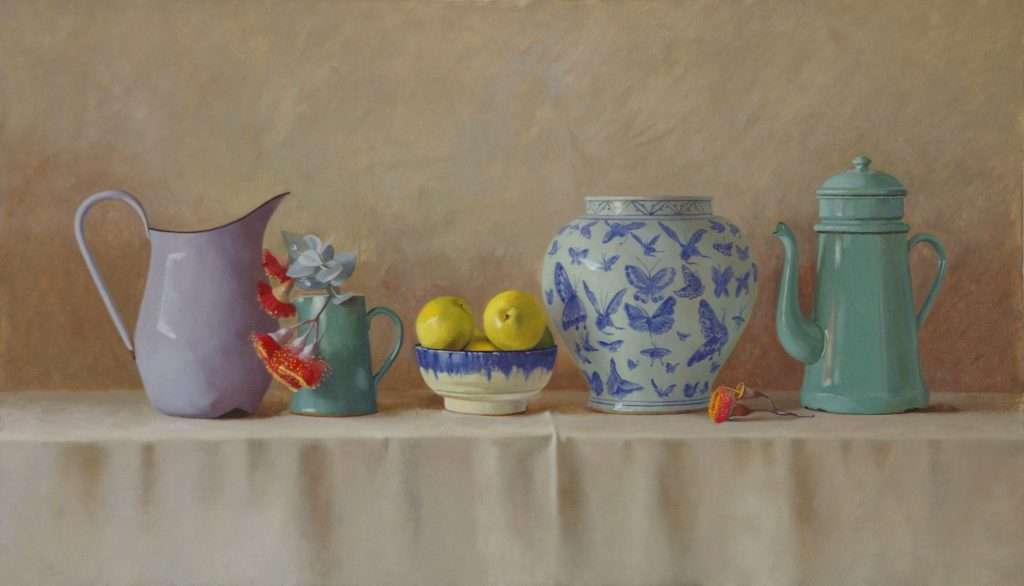 Butterfly Vase, Coffee Pot and Nashi Pears