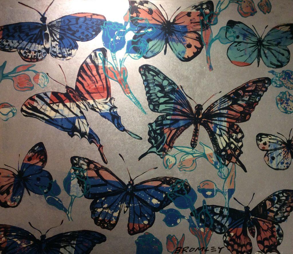Butterflies blue pink silver