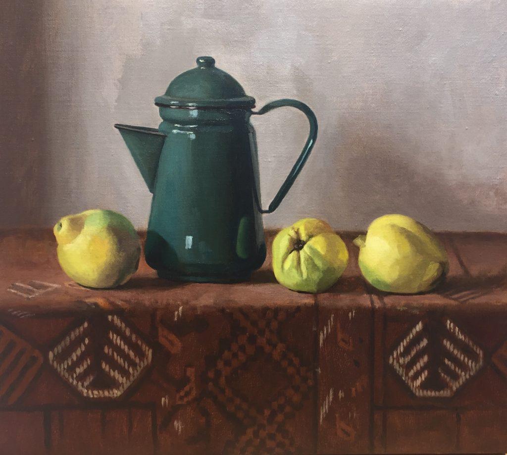 Green Coffee Pot & Quinces