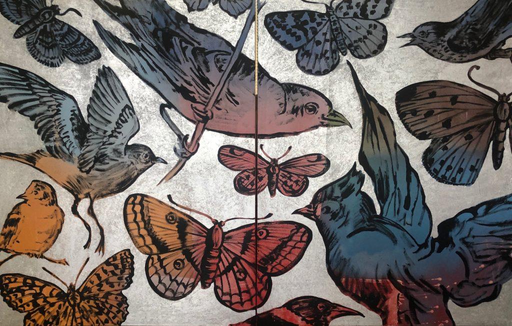 Butterflies & Birds, blue & pink (diptych)