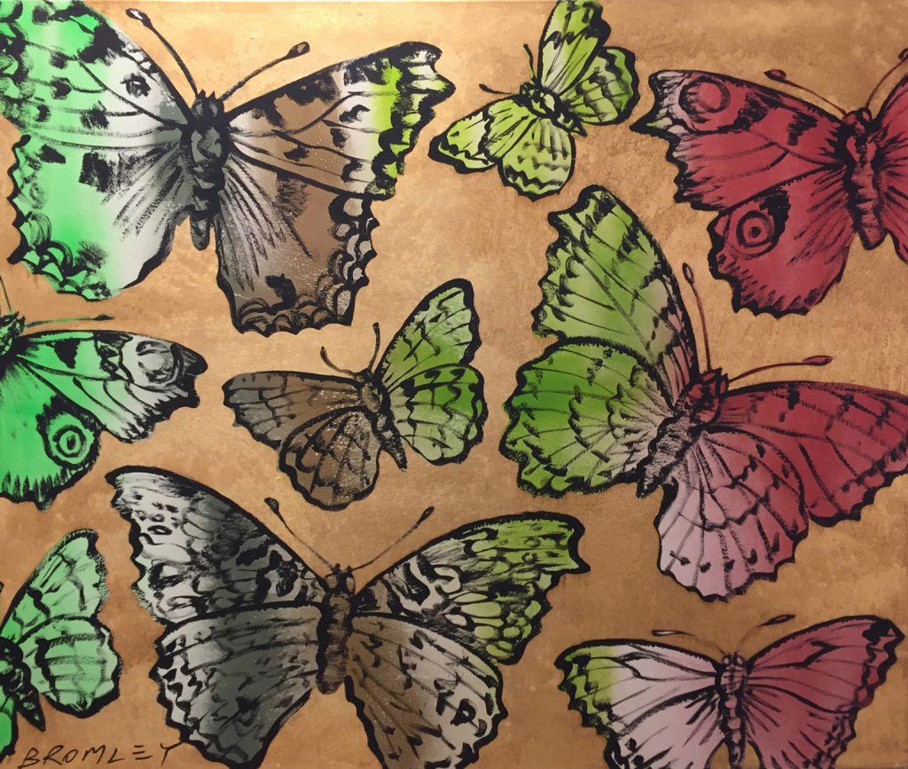 Golden butterflies with green & red