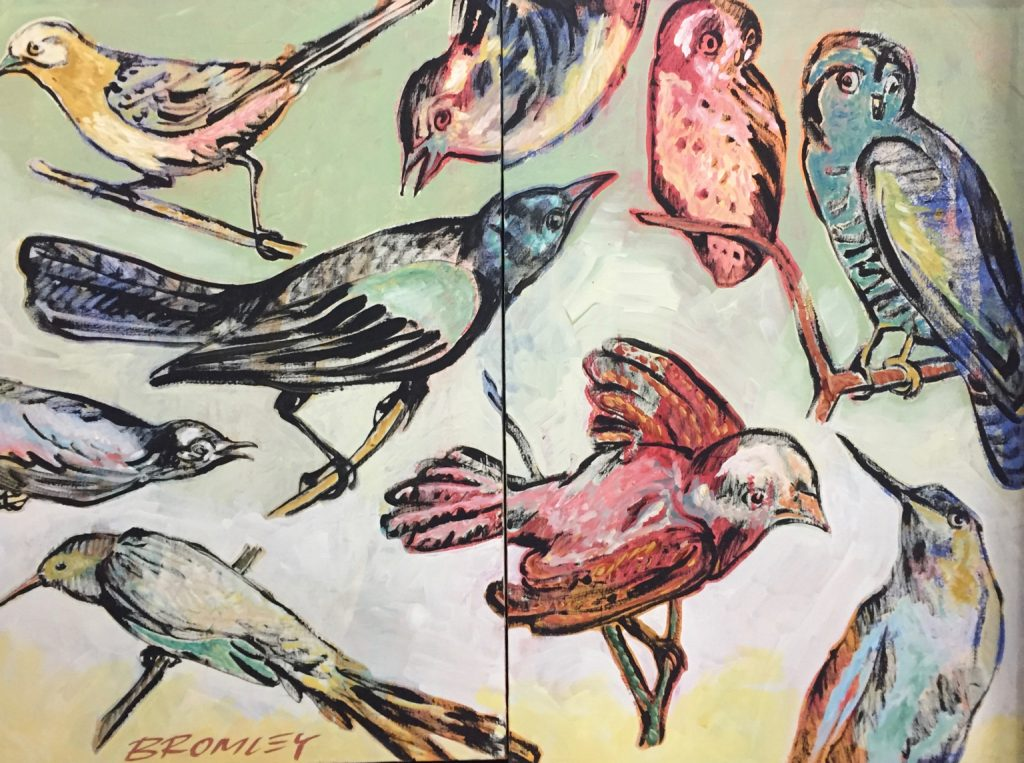 Multi coloured birds diptych