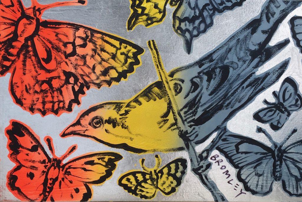 Birds & Butterflies on silver leafing