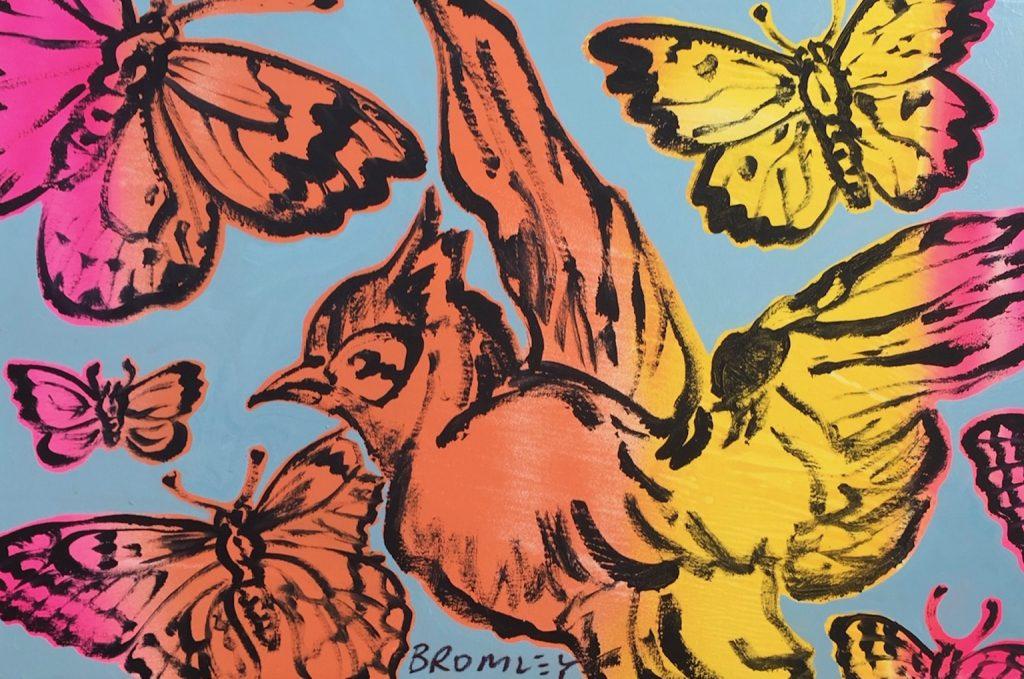 Birds & Butterflies, orange, pink, yellow