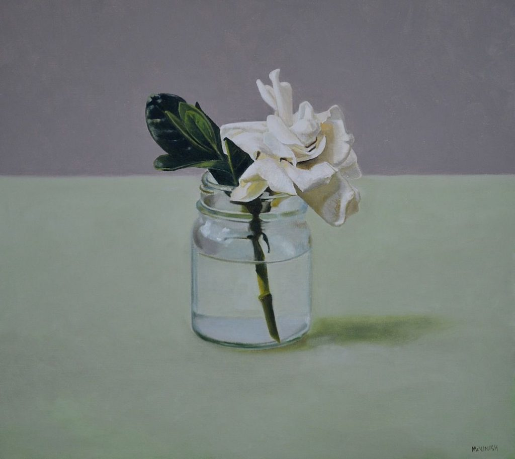 Still life with glass jar and gardenia