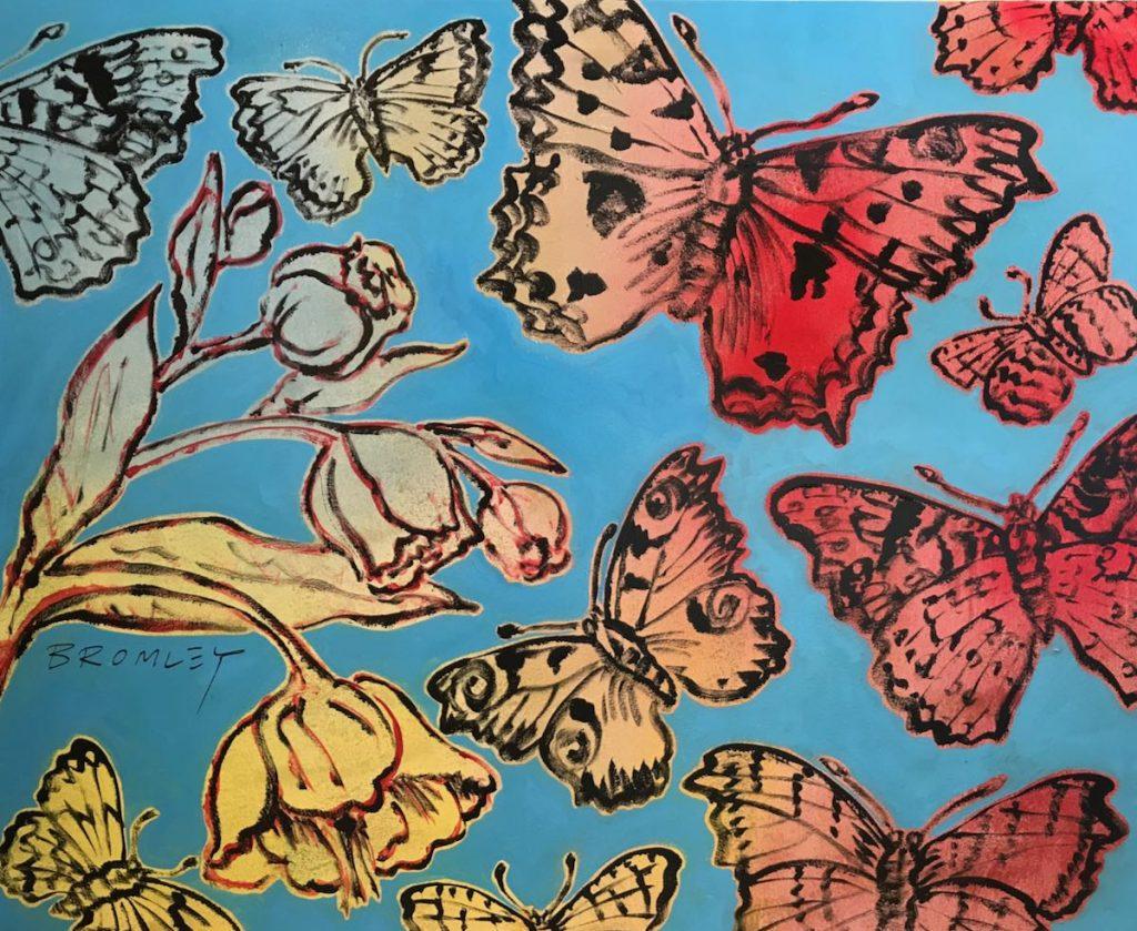 Butterflies & Flowers on Aqua