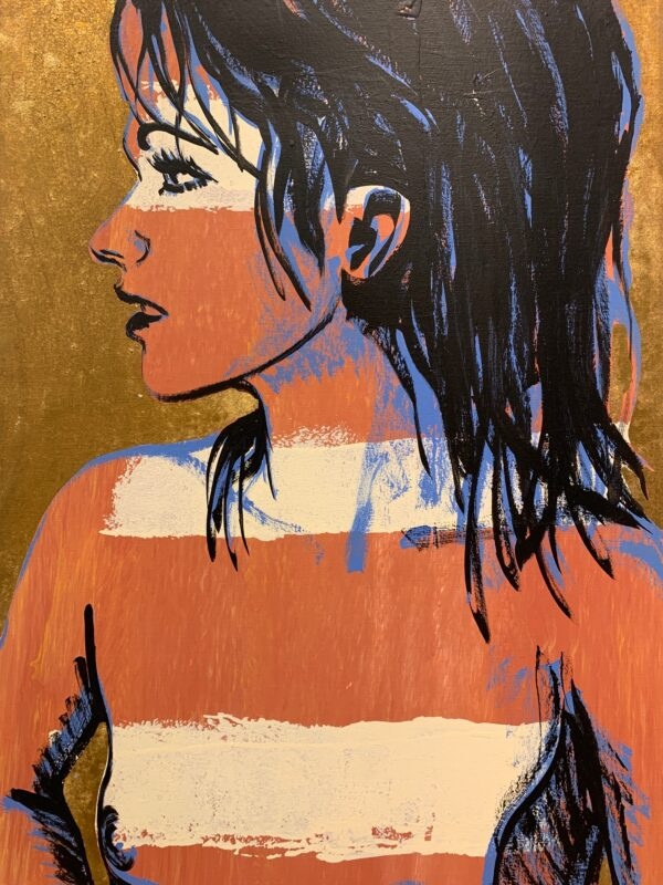 Girl with white stripes and gold