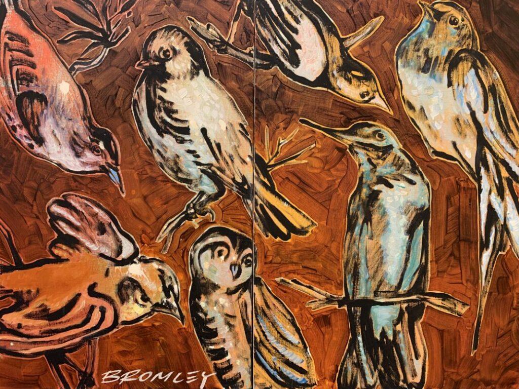 Birds on rust orange
