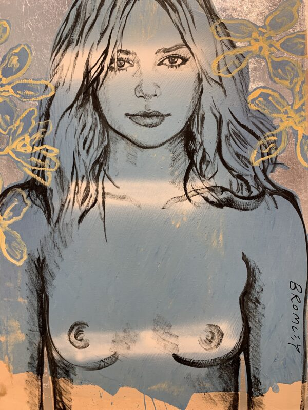 Girl Blue with Yellow Flowers on Silver Leafing
