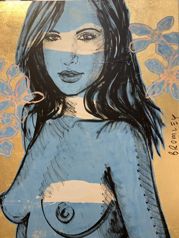 Blue girl with Pink Flowers on Gold Leaf
