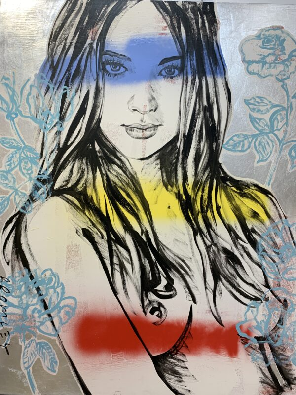 Rosie, Blue, Yellow, Red stripes on Silver Leaf