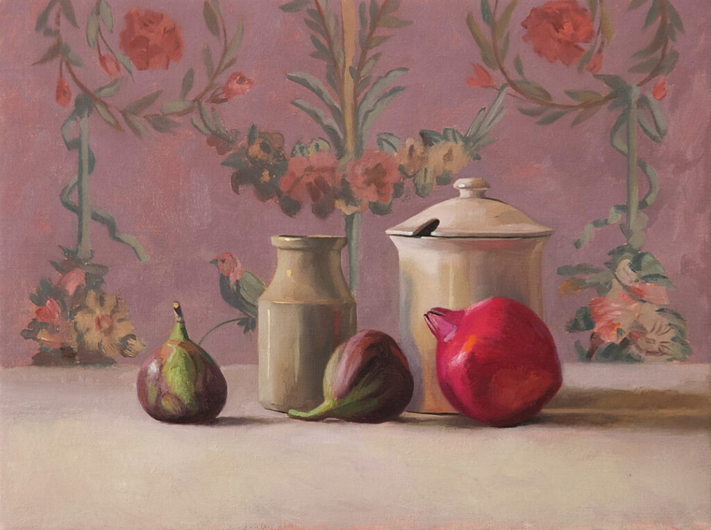 Pomegranates, figs and jars