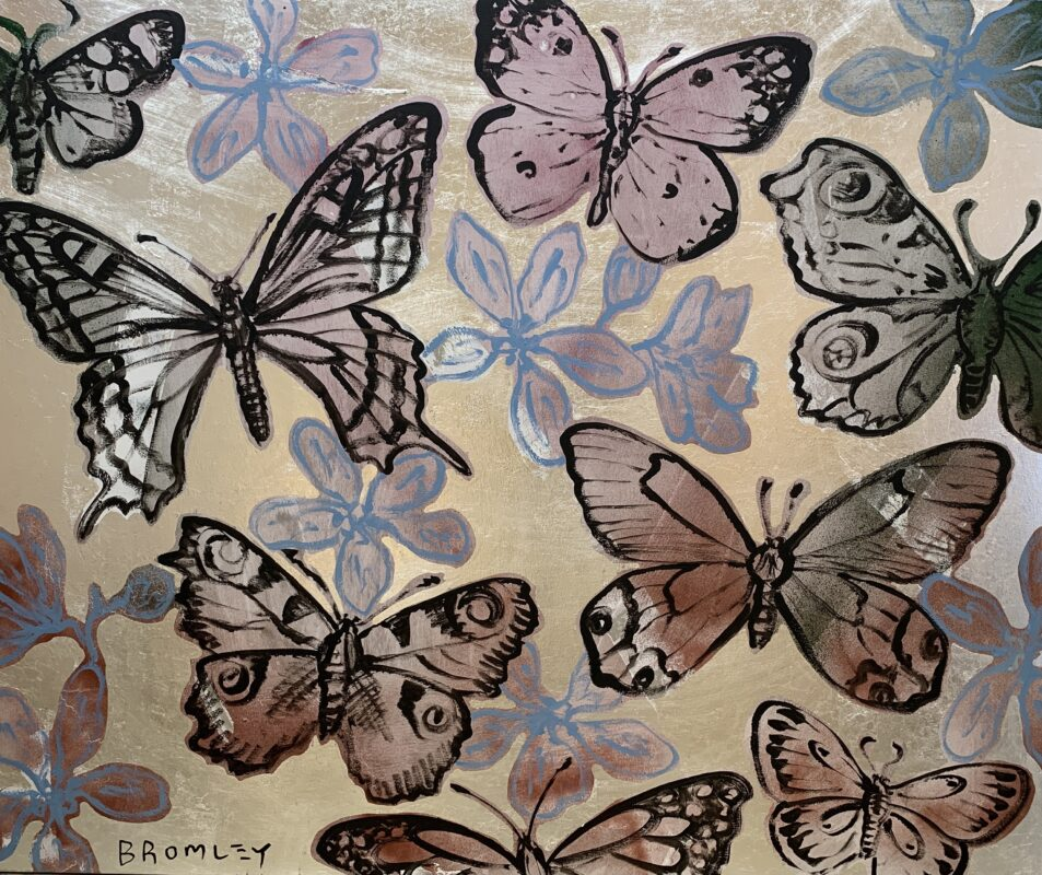 Lilac Butterflies on Silver