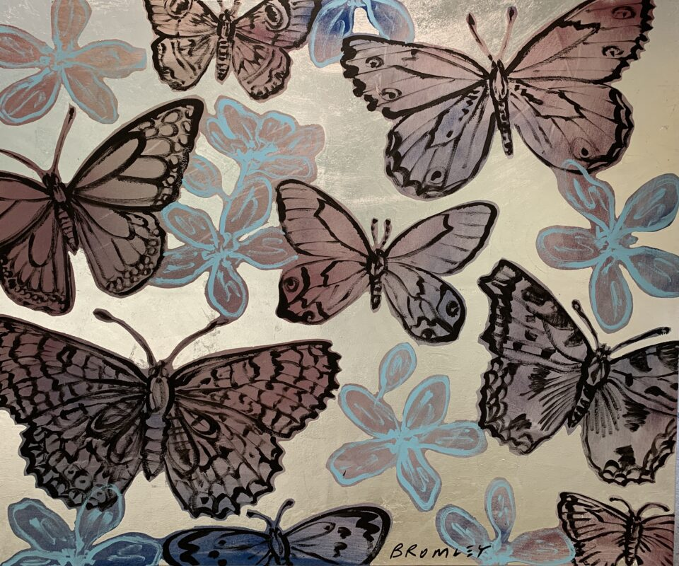 Purple Butterflies and Blue Flowers on Silver